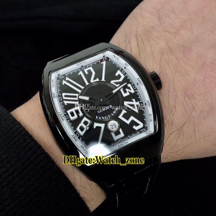 Limited New Vanguard PVD Schwarzes Stahlgehäuse V45 SC DT GLACIER AC BR.GL ETA2824 Automatik schwarzes Zifferblatt Herrenuhr Leder / Kautschukband Uhren