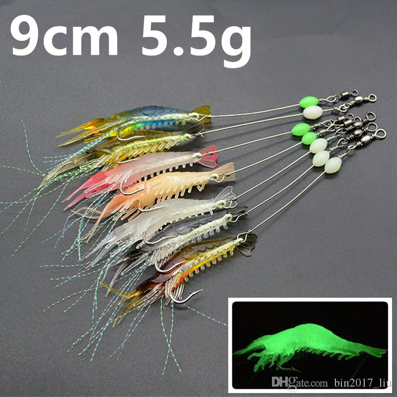 7 Color 9cm 5.5g Luminous Shrimp Hook Fishing Hooks Fishhooks Soft Baits & Lures Pesca Fishing Tackle Accessories c-033