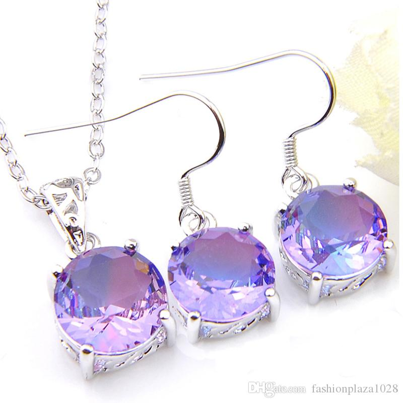 Luckyshine regalo di Natale Set pendenti di orecchini rotondi Bi colorata Tourmaline Jewelry argento 925 collana d'argento di trasporto Set per le donne libera