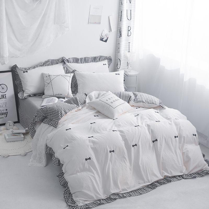 Embroidery Grey Pink White 100%Cotton Bedding Set Kids Girls Twin