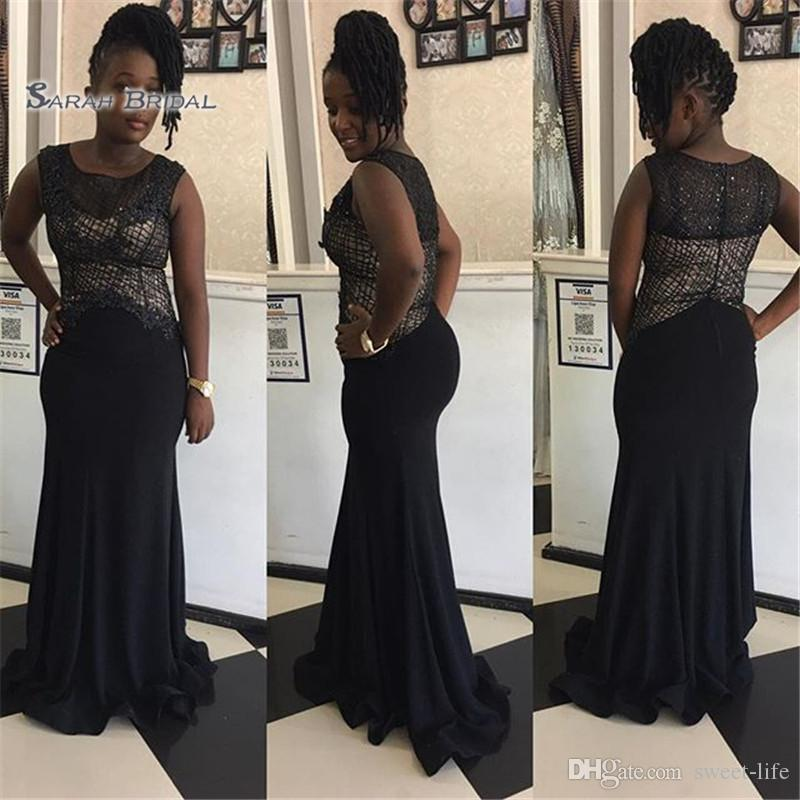 2020 Black Mermaid Plus Size Prom Dresses Jewel Sleeveless Formal African Sexy Evening Dress Party Wear