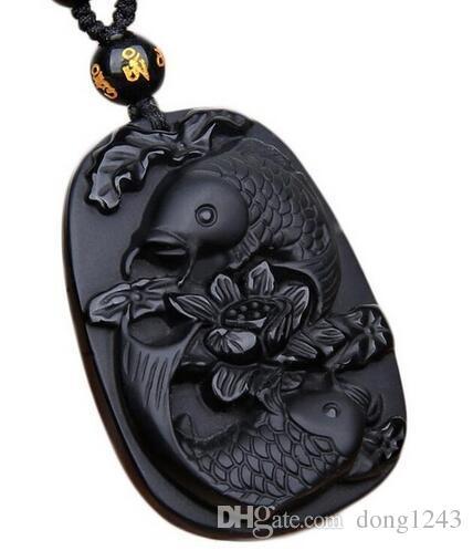 Genuine Natural Black Obsidian Gemstone Crystal Pendant Necklace Bless You