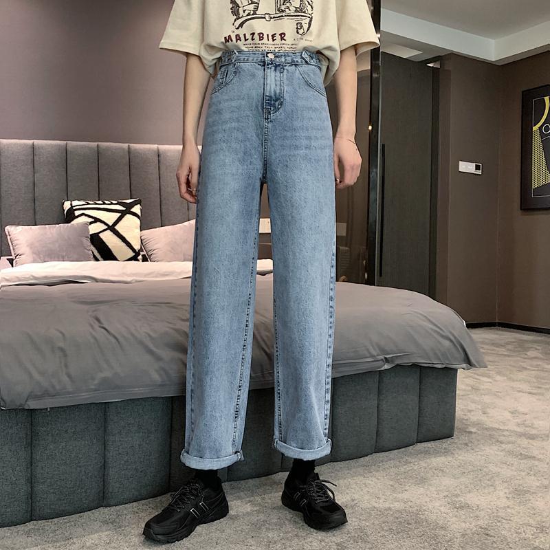 2020 New Style Jeans Femmes Tennis Rouge Pantalon taille haute jambe droite en vrac Bavures étudiants Pantalons