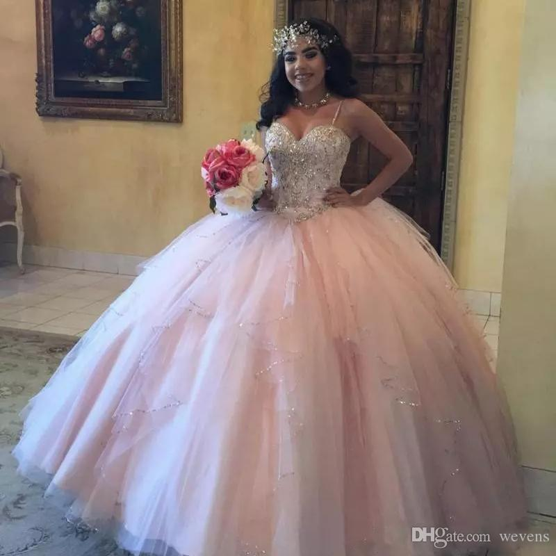 Sparkly Light Pink Princess Quinceanera Dresses Spaghetti Strap Sequin And  Beads Tiered Sweet 16 Dress Tulle Floor Length Prom Gowns Quinceanera