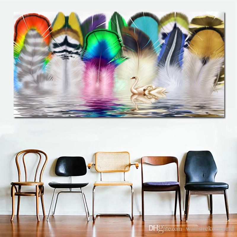 1 Piece Colorful Feather and Swans Wall Art Painting Big Size Canvas Painting for Living Room Home Decor Abstract Art Canvas Print