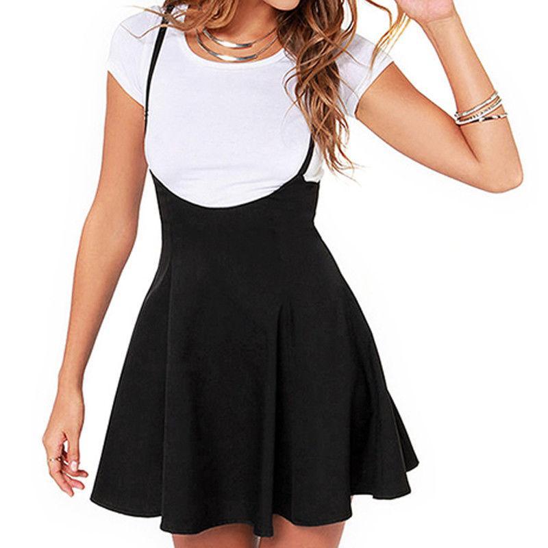 Sexy Ladies Strappy nero bretella gonna tunica elegante del partito delle donne tutto-fiammifero femminile mini a pieghe Skater Gonne plus size