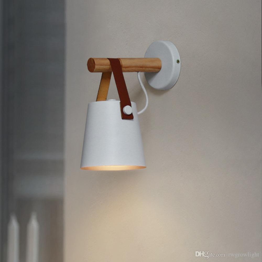 Macaron moderna lámpara de pared de hierro Madera Espejo Luz de noche en la alcoba Iluminación interior E27 Bombilla LED retro pared Nordic Light
