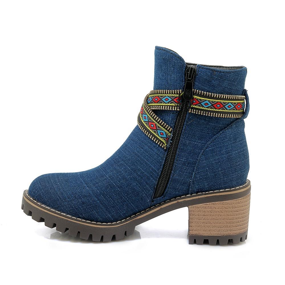 뜨거운 판매-XW18-2002Medium 두께 및 국가 스타일의 자수 신발, 캐주얼 짧은 부츠와 함께 수 놓은.