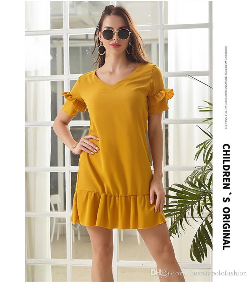 V Yaka fırfır Kadınlar Elbiseler Yaz Kısa Kollu Gevşek Bayan Modelleri Casual Katı Renk dizayn edilmiş elbiseler
