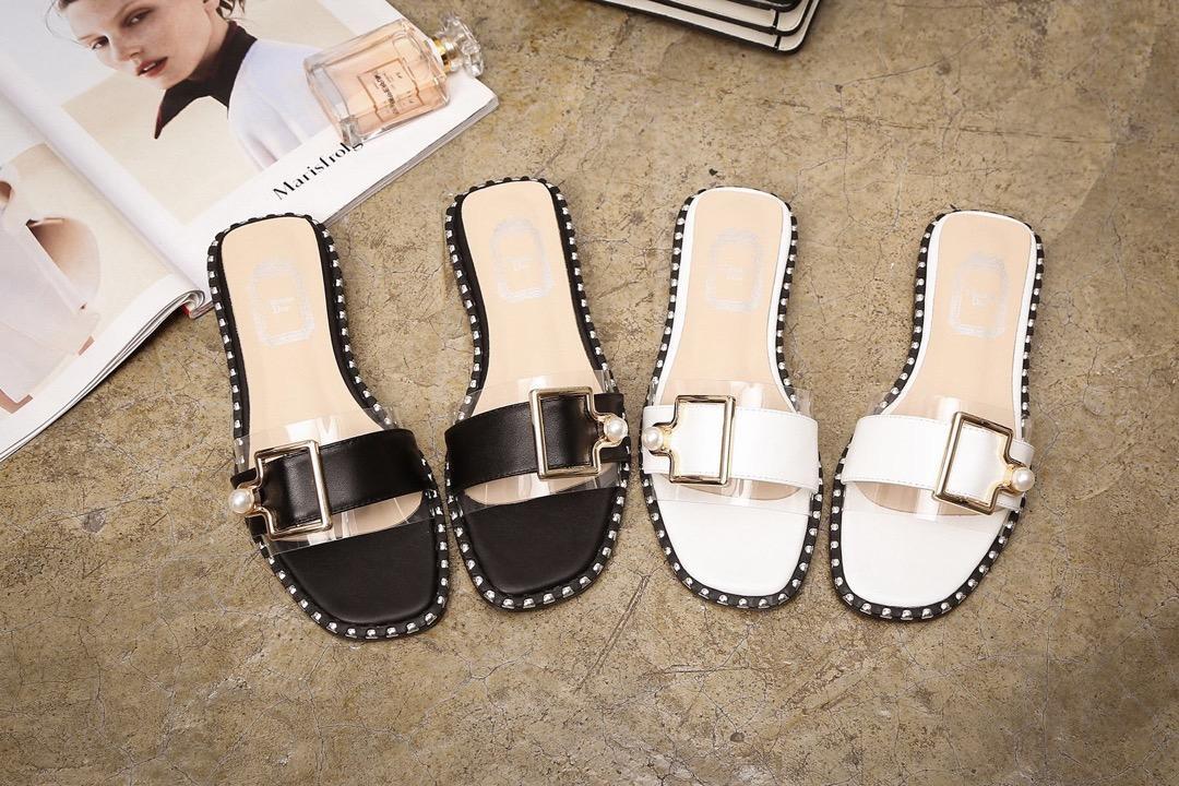 2020 DesignerLuxury sandalias del dedo del pie cuadrado de brandsandals Sliders playa sandalias temperamento noble mujer de la boda de tacón bajo tamaño 34-40 20022206T
