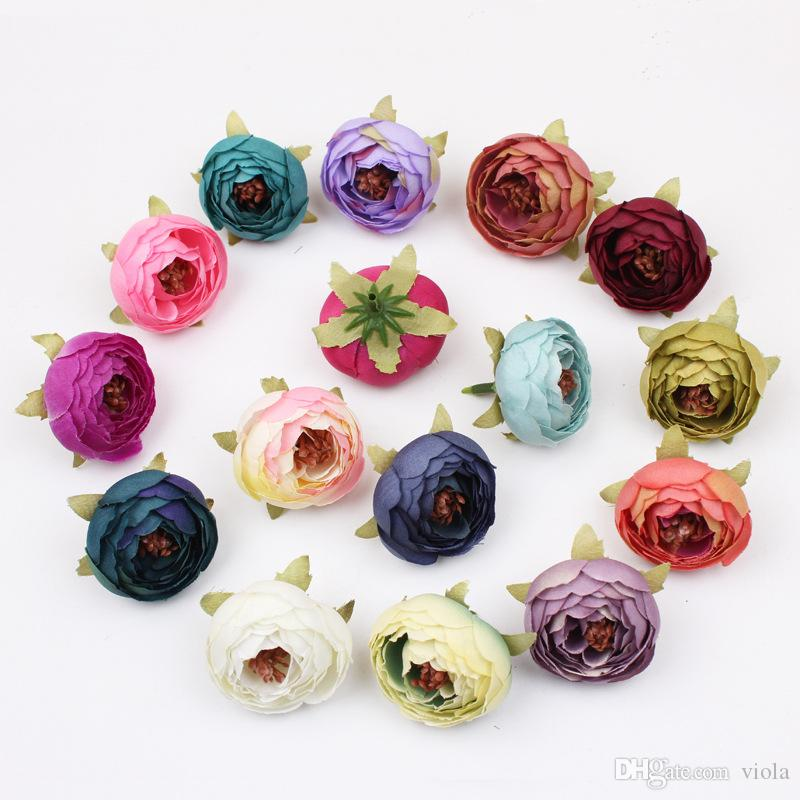 New 16 Colors Tea Rose Bud 5cm Peony Fake Bridal Bouquets Silk Flowers Head Party Decoration Garden Decor