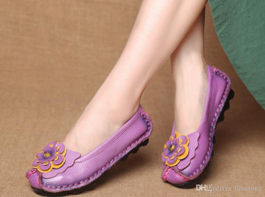 2018 봄과 가을의 여성 신발 신식 플랫 바닥 꽃의 어머니 신발
