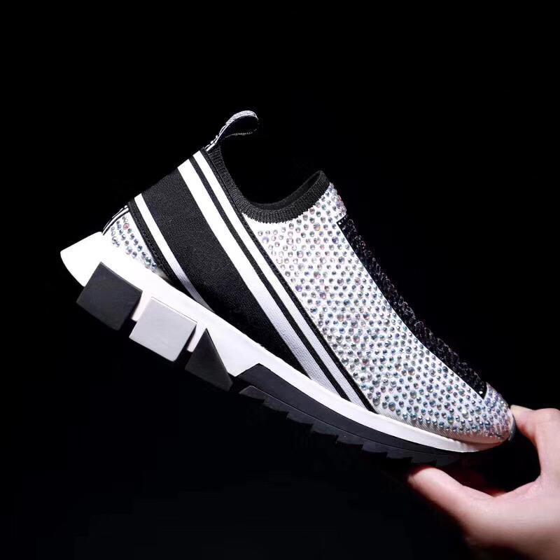 Yeni mens Gabbana sorrento marka spor ayakkabıları kristaller siyah kentsel tarzı geometrik tek eğitmen Kayma-on kadınlar ayakkabı örgü Günlük Ayakkabılar boyutu 3c115 #