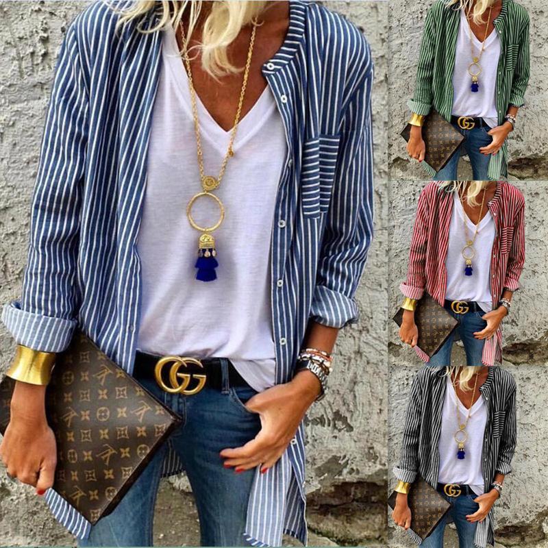 Camicia a striscia maniche lunghe in soprabito allentato camicie da donna casual sottile colori mescolati primavera e autunno anti indossare vendita calda 24xx f1