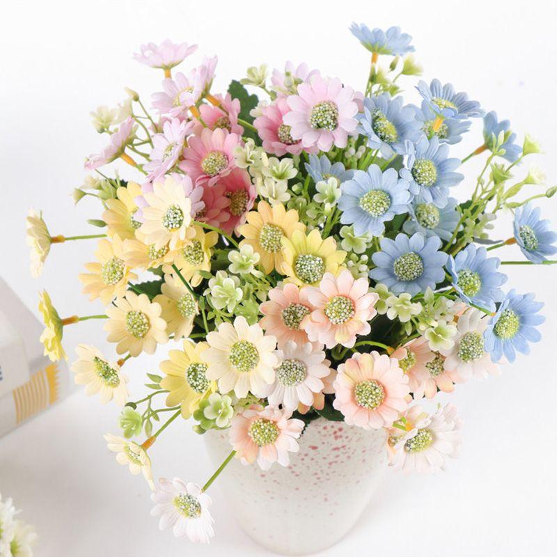 15 Tête Simulation Marguerite Bouquet De Fleurs De Soie Artificielle Chrysanthème Fleurs DIY Maison De Mariage Flores Bureau Parti Décor