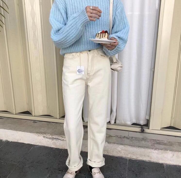 2020 printemps blanc jeans Femmes Denim Pantalon Taille Haute Pantalon Coréenne maman jeans Streetwear Y200417