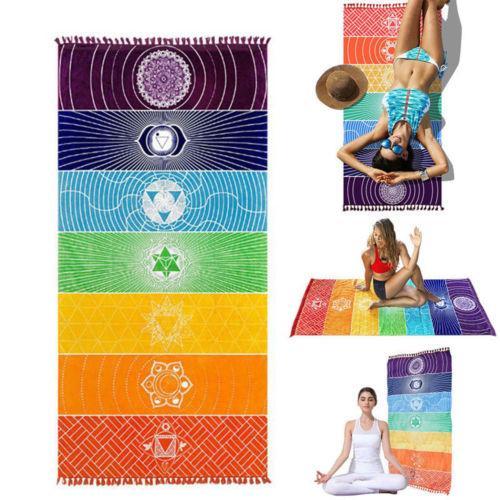 Yoga Mat Shawl AU Rainbow Chakra Blanket Wall Hanging Towel Sunscreen Tapestry