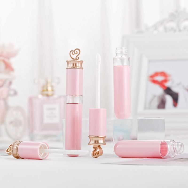 7ML ملمع الشفاه أنابيب مع العصا 7G البلاستيك الوردي إفراغ ملمع الشفاه أنبوب وغطاء وردي، من البلاستيك الشفاف مستحضرات التجميل الجمال ملمع الشفاه الحاويات 50PCS
