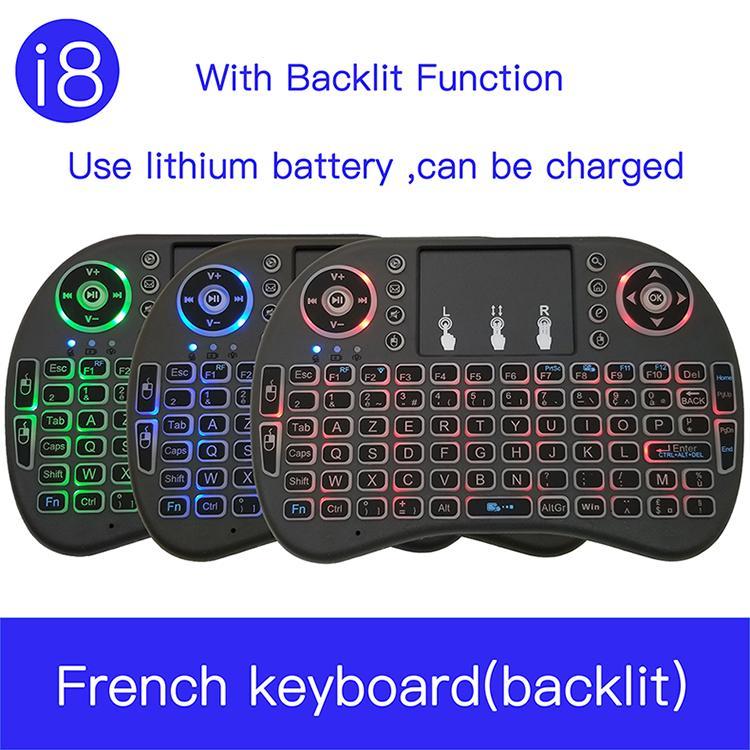 الفئران لوحات المفاتيح لوحة مفاتيح I8 الفرنسية 7 لون الخلفية 2.4G اللاسلكية البسيطة فران؟ AIS لوحة المفاتيح لوحة اللمس ماوس لجوجل الروبوت صندوق TV،