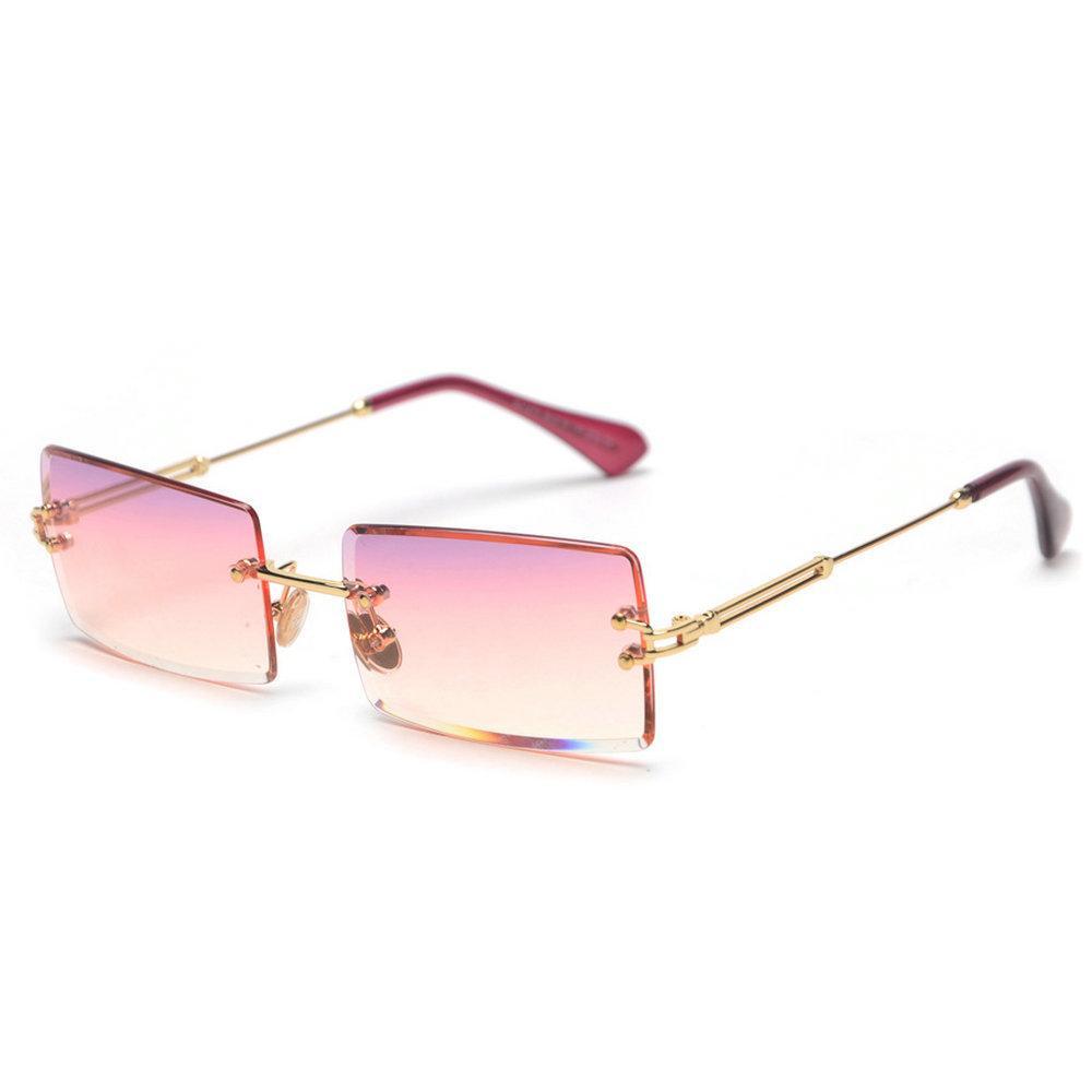 2019 Piccoli occhiali da sole senza montatura Donna Uomo Estate 2018 Nero Rosso Rosa Piccoli occhiali da sole rettangolari per donne Uv400 Retro tonalità Nx T190705
