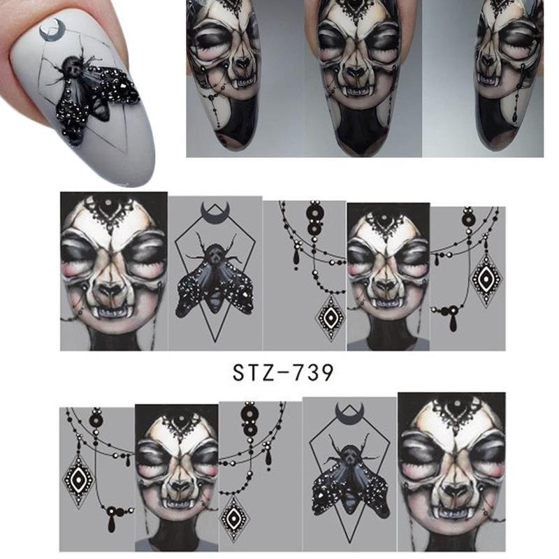 25 tema do dia das bruxas nail art watermark adesivos set diabo prego adesivos de água
