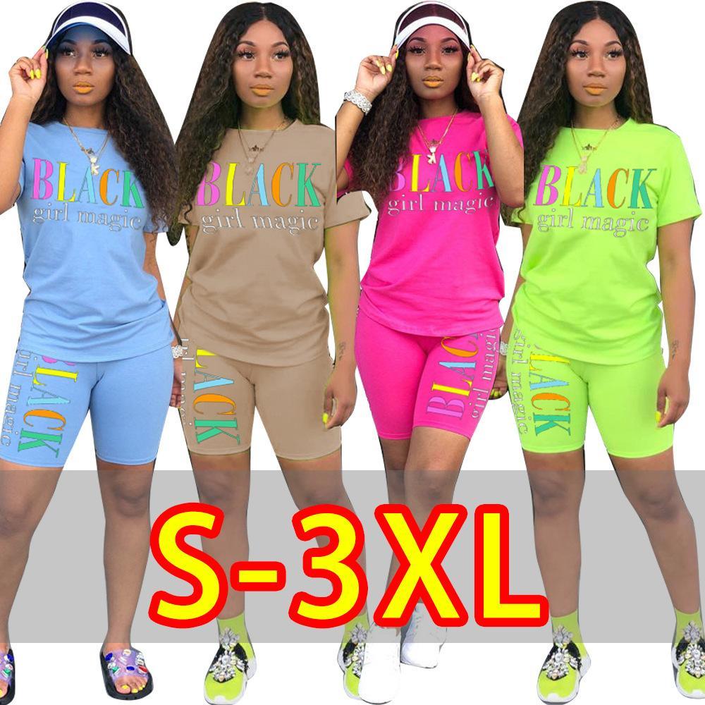 2019 cortocircuitos de las mujeres de longitud letra de la impresión de manga corta camiseta de rodilla nuevo juego del verano de dos piezas traje de chándal deportivo 3XL