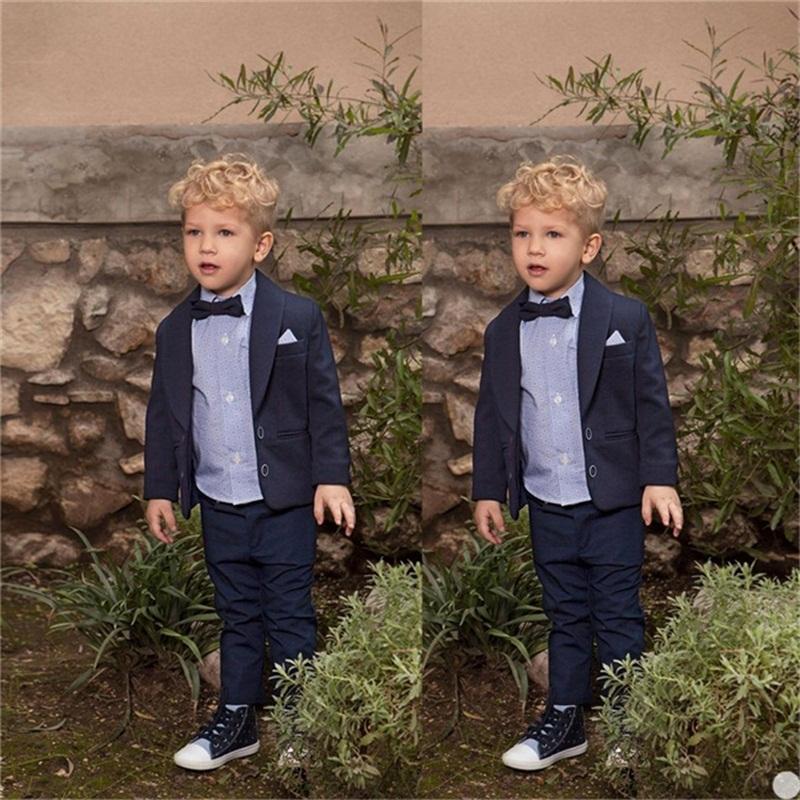 Темно-синий Детский Формальное 2pcs костюм наборы цветов Мальчик Свадеб Пром день рождения платье костюм Дети Blazer Брюки нарядах