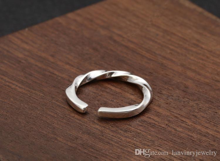 Personalized 925 sterling silver jewelry antique silver Korea hand-made designer twisted thin band ring open end adjustable ring