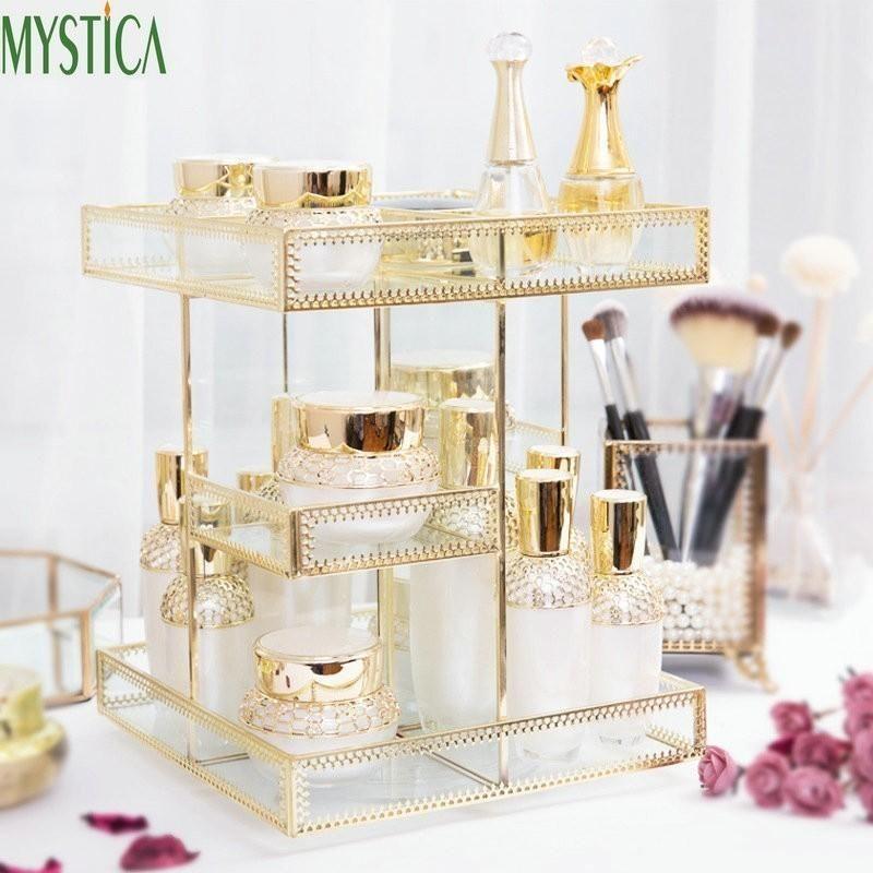 360 degrés de rotation cosmétiques Boîte de rangement Brosse Support Accueil Maquillage Bijoux Organisateur Bureau Case Skin Care Product Support de rangement