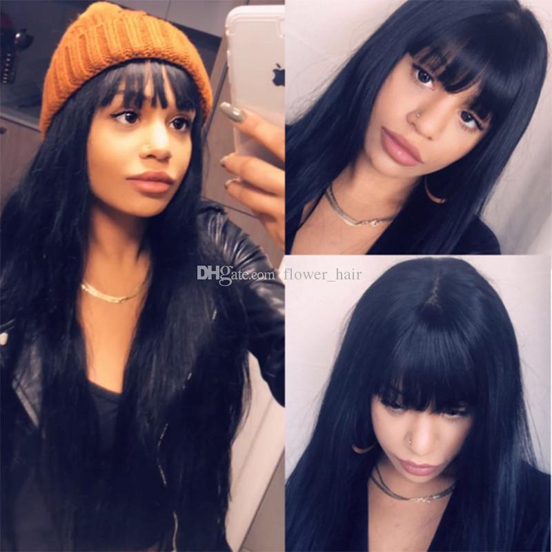 Pelucas de cabello humano de encaje completo virgen brasileño con flequillo chino Peluca delantera de encaje sin cola Peluca de encaje completo recto para mujer negra