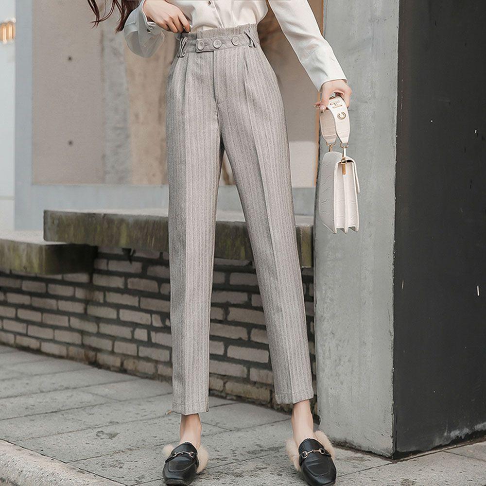Casual Harem Donna Solid grigio minimalista Ufficio di tasca di modo pantaloni neri a vita alta signore Vintage pantaloon mujer