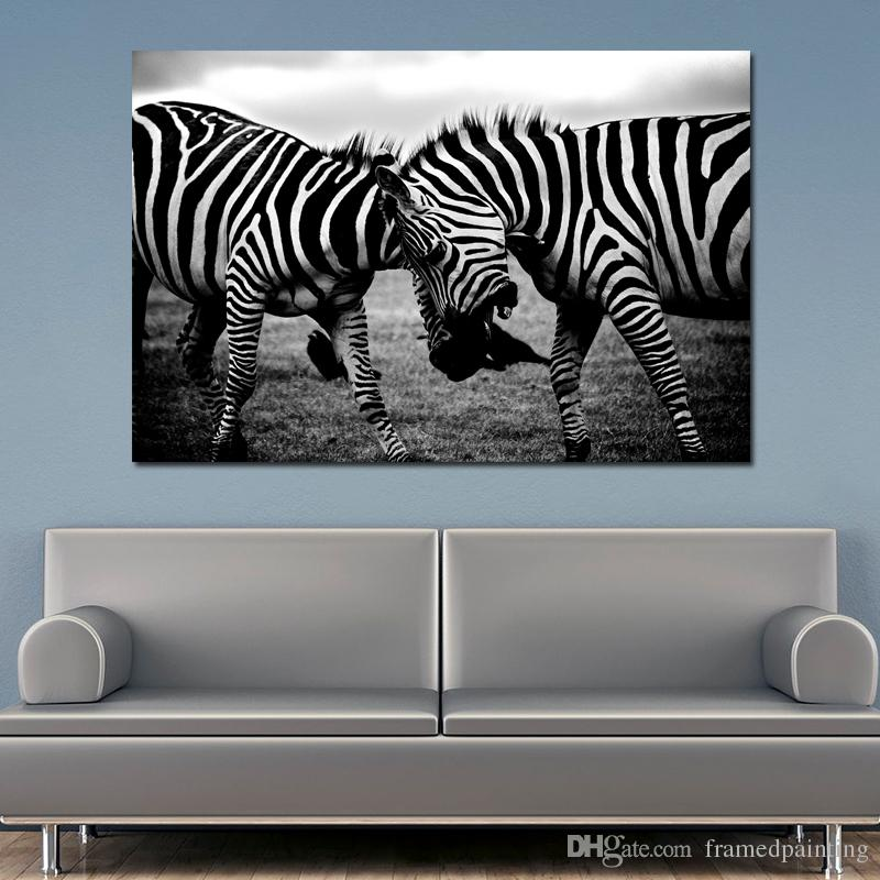 1 Pcs Black and White Canvas Art Two Zebra Animal Pictures Poster Print Wall Art Painting Home Decoration For Living Room No Frame