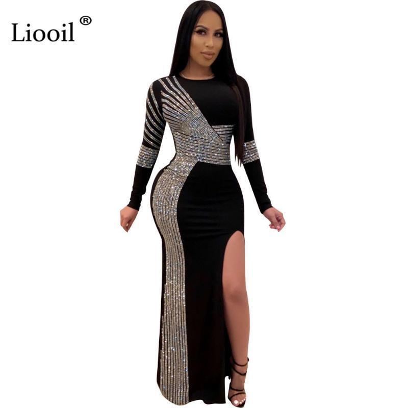 캐주얼 드레스 Liooil 블랙 라인 석 섹시 슬릿 바디 콘 긴 맥시 드레스 여성 2021 소매 o 넥 나이트 클럽 저녁 파티 꽉