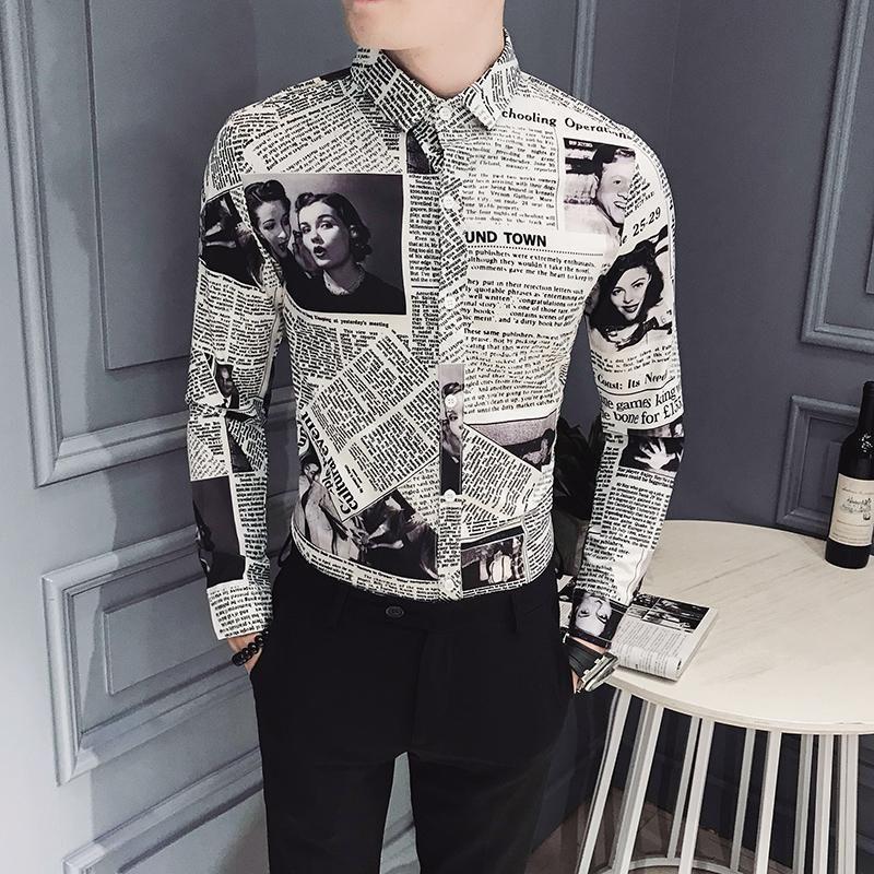 패션 남성 드레스 셔츠 긴 소매 블랙 빈티지 디자이너 셔츠 남성 슬림핏 캐주얼 인쇄 단추 위로 봄 사회 의류