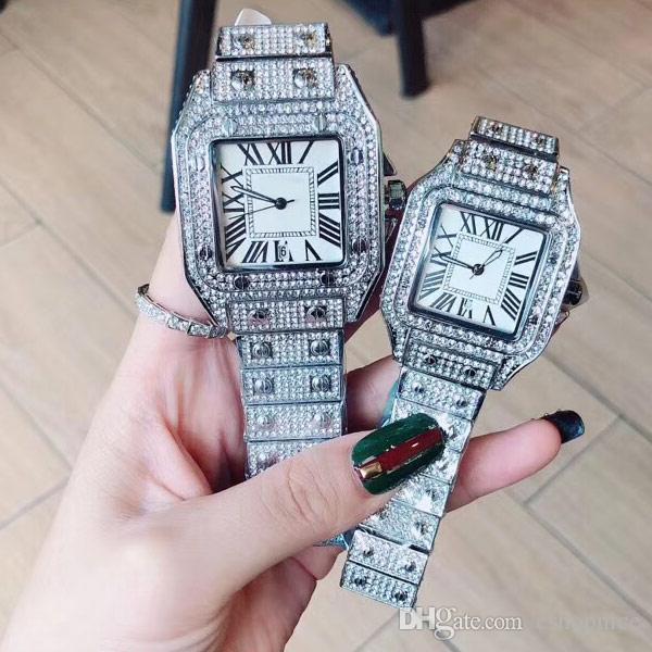 Paar Männer Frauen Mode-Liebhaber Uhren Mode-Uhr-Edelstahl-Band voller Diamanten Quarz-Armbanduhr für Herren-Damen Relogio Feminino