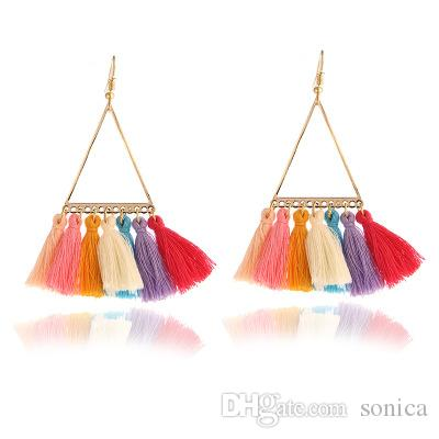 Fashion 2019 lady boho ethnic style fan earrings wool vintage tassel pendant earrings Dangle Earrings Jewelry Valentine Gifts Christmas