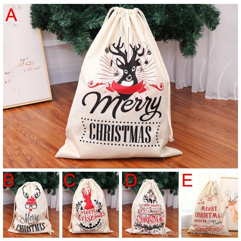 64*47cm Xmas Sack Reindeers Santa Claus Sack Christmas Gift Drawstring Bags Large Deer Elk Storage Bag Kids Candy Gift Bags BH0242 TQQ