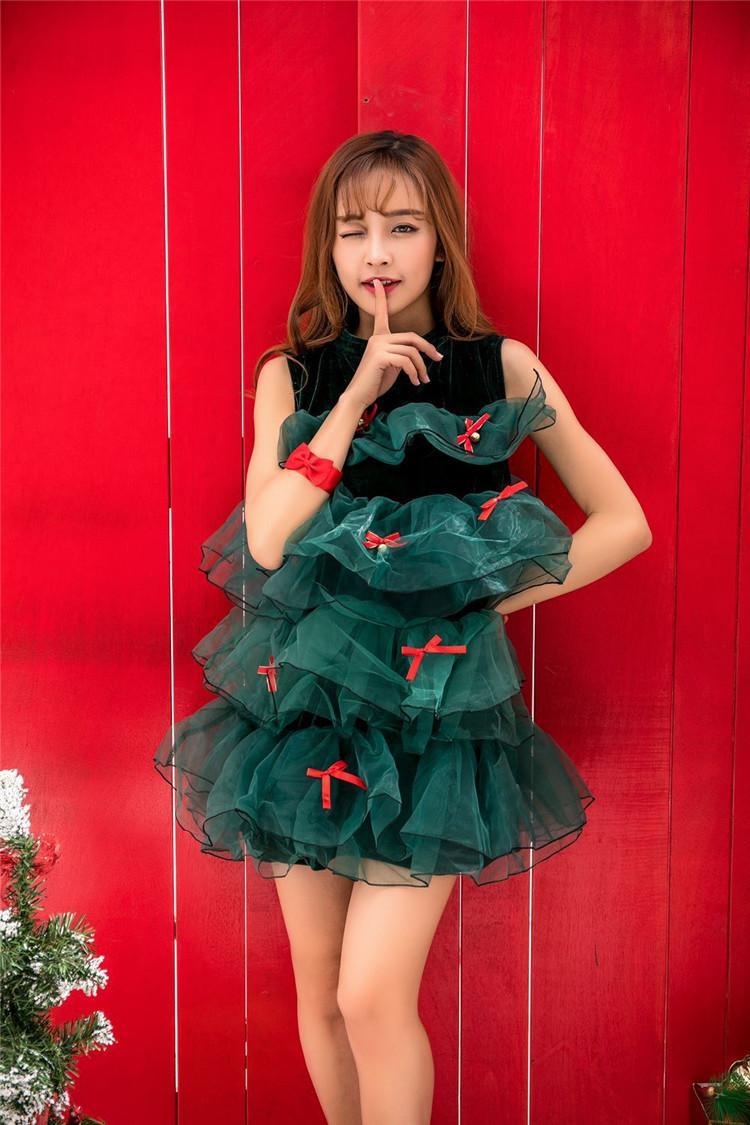 Noël Ruffle Femmes Robes Vacances d'hiver à manches courtes O cou avec nœud lambrissé Designer Robes Femmes Cosplay Costume