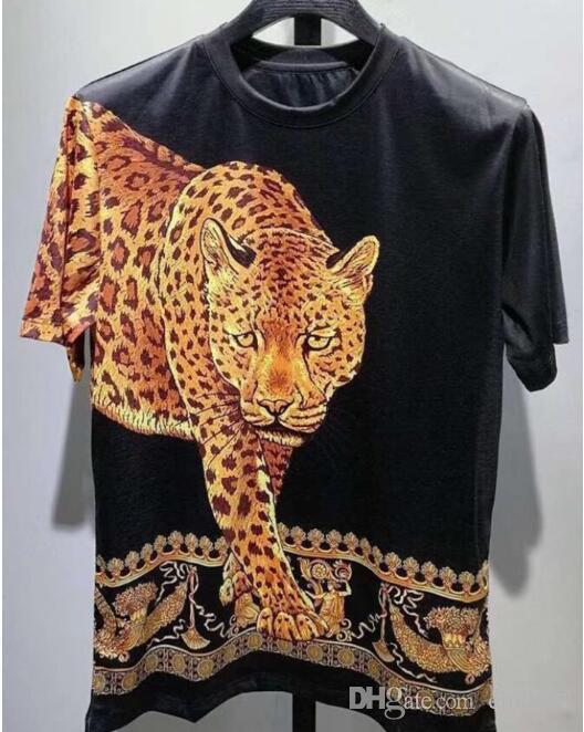 Verano Nueva Marca Casual Tee Para Hombre Leopardo de Impresión Camiseta de Los Hombres Tops Moda camiseta Camiseta de los hombres de Hiphop de manga corta ropa