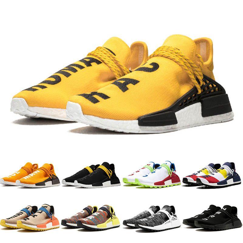 2019 رخيصة PW الإنسان سباق HU X فاريل وليامز الرجال المرأة ماك التعادل صبغ حزمة الشمسية الأم مصمم الأزياء والأحذية الرياضية