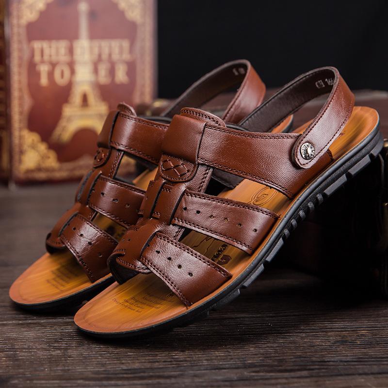 Di vendita calda scarpe in pelle pieno fiore di mucca sandalo in pelle di mucca per il formato dell'uomo 47 sandalo hommes vera pelle uomo pantofola sandales Mare 454