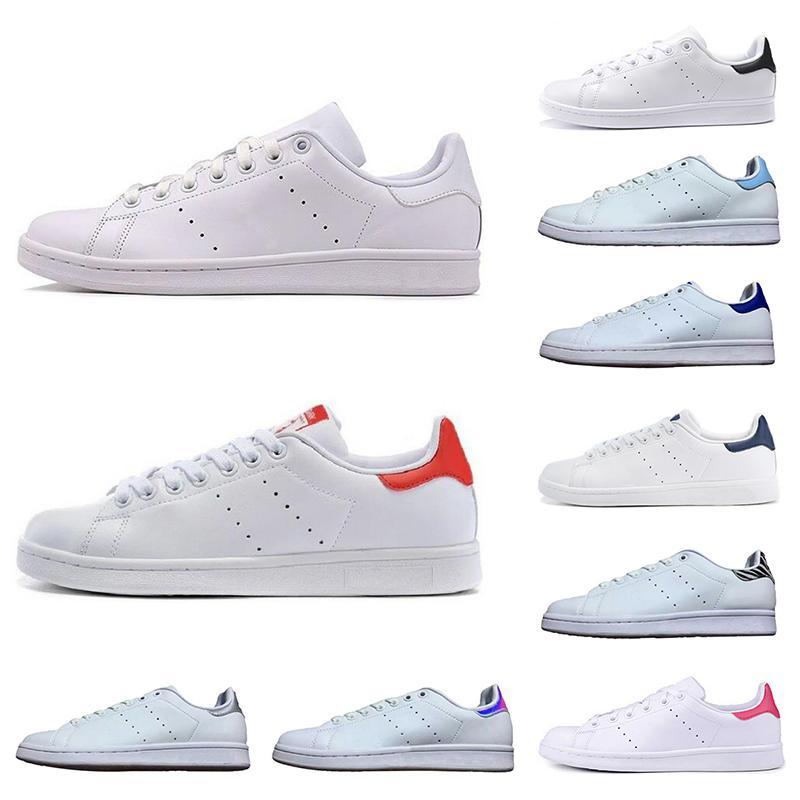 Горячие Классический мужской женщин новый STAN обувь мода кузнеца кроссовки прогулочной обуви Тройной белый черный зеленый красный кожаный спорт квартиры размер 36-45