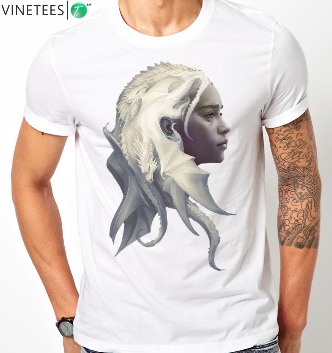 Game Of Thrones Art T-shirt Jon Snow Daenerys Tee Men/'s Women/'s All SIzes