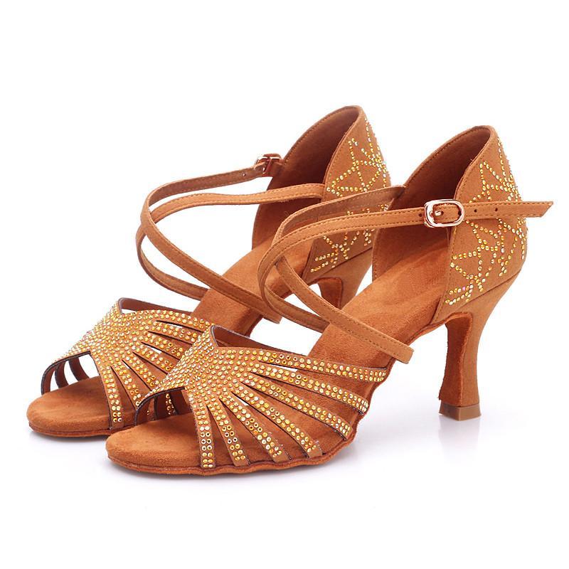 USHINE BD211 كعب 7.5CM الحرير الحرير المشمش براون اللاتينية الرقص أحذية لون الشمبانيا حجر الراين السالسا اللاتينية أحذية الرقص امرأة