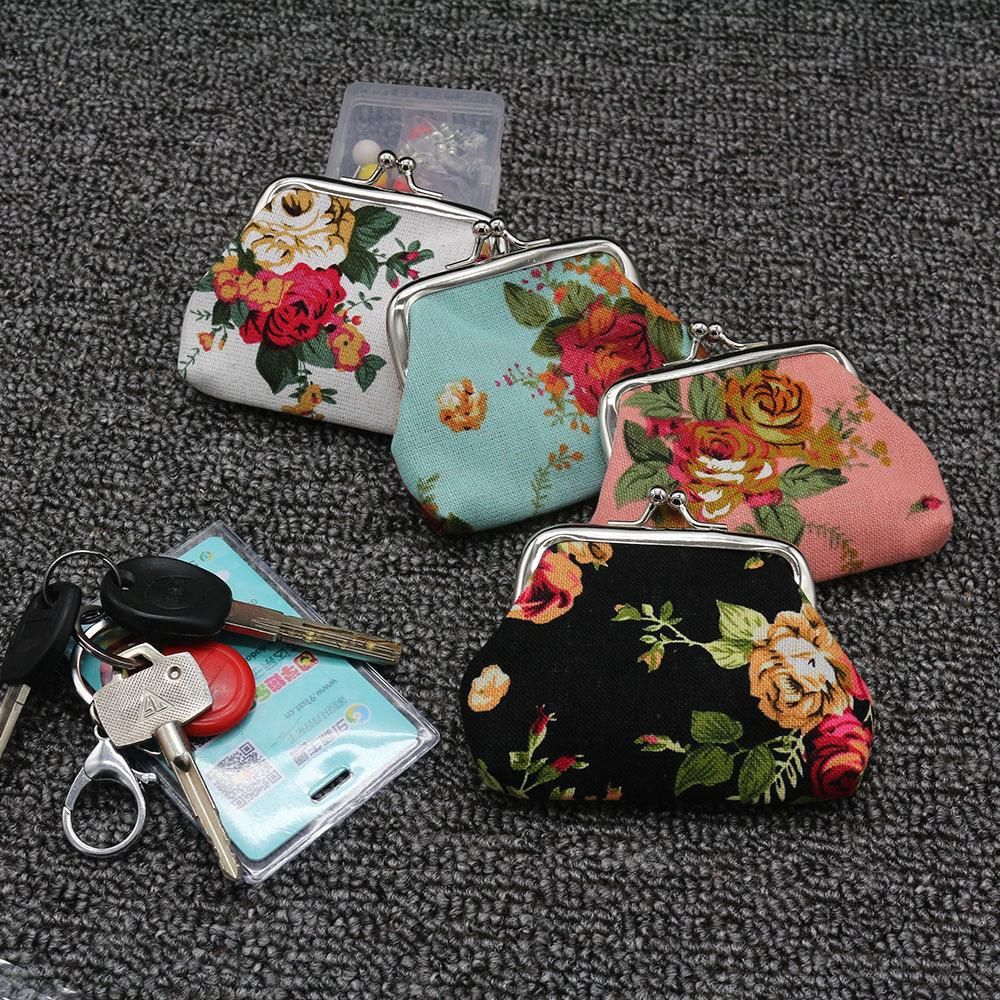 1x Retro Credit Card Holder Coin Purse Organizer Floral Canvas Handbag Wallet