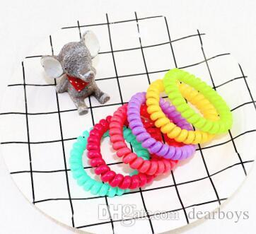 Telefono legare del cavo della gomma del legame dei capelli 5,5 centimetri ragazze anello elastico dei capelli della fascia della corda di colore della caramella braccialetto elastico Scrunchy