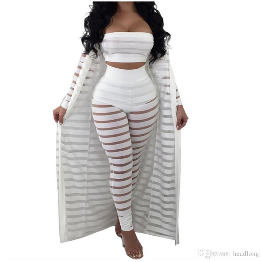 Grande taille été Survêtement évider Stripe Salopette sexy Trois Set Femmes Pièces Costumes Jumpsuit Casual Wear Boîte de nuit S-3XL