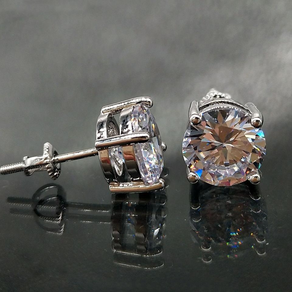 18K Hip Hop ha ghiacciato fuori CZ Zirconia rotonda orecchini 0,4 0,6 0,8 centimetri per uomini e donne orecchini di diamanti Studs Roccia Rapper gioielli regalo