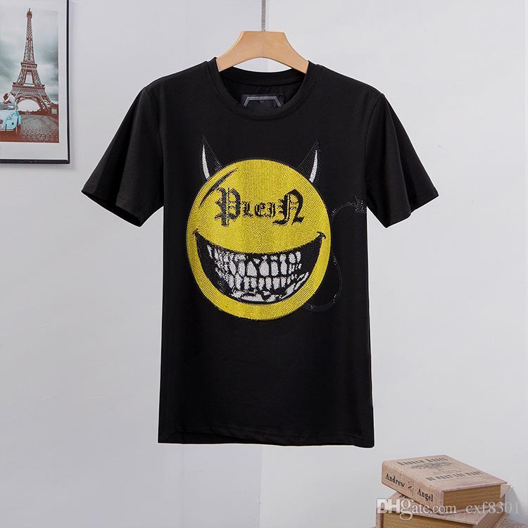 manica corta uomini della maglietta di lusso di abbigliamento hip hop designer di teschi parti superiori del T punk di alta qualità lettera di marca della stampa in bianco bianco t-shirt uomo M-3XL
