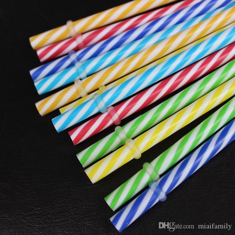 Sıcak 230mm Yeniden kullanılabilir plastik Payet Fit Renkli Sert Plastik Çizgili Payet 20 ons 30 ons kupa Mason Jar için
